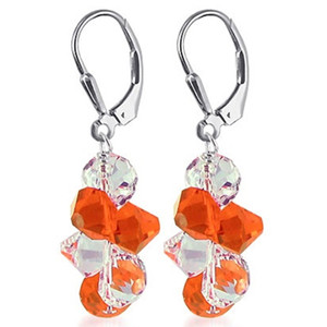 925 Silver Swarovski Elements Orange & Clear Crystal Cluster Style Leverback Dangle Earrings