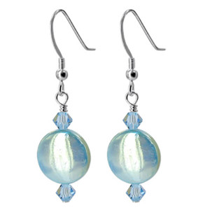 925 Sterling Silver Made with Swarovski Elements Blue Mother of Pearl and Crystal Handmade Drop Earrings