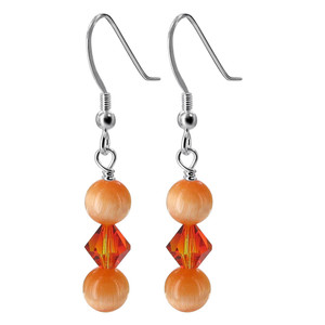 925 Sterling Silver Orange Cats Eye Beads Made with Swarovski Elements Crystal Handmade Drop Earrings