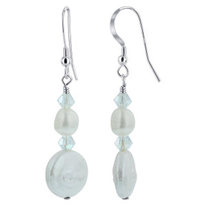 925 Sterling Silver Swarovski Elements Nugget Faux Pearl and Crystal Handmade Drop Earrings