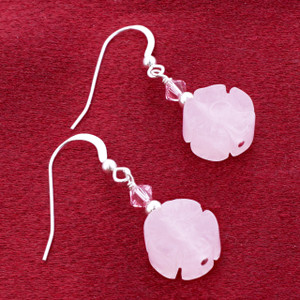 Sterling Silver Made With Swarovski Elements Rose Quartz Beeds and Crystal Handmade Drop Earrings