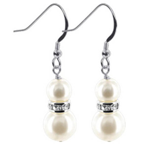 925 Sterling Silver Made With Swarovski Elements White Twin Faux Pearl and Crystal Handmade Drop Earrings