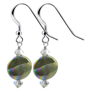 925 Sterling Silver Made With Swarovski Elements Dyed Abalone and Crystal Handmade Drop Earrings
