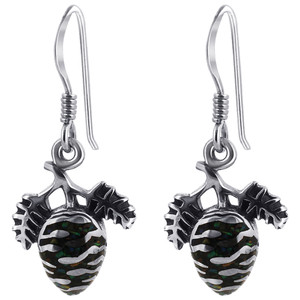 Onyx & Opal Pine Cone Drop Earrings