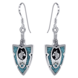 925 Sterling Silver Turquoise Gemstone Southwestern Style Wolf French Hook Drop Earrings