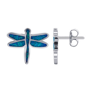Blue Opal Gemstone dragonfly Stud Earrings