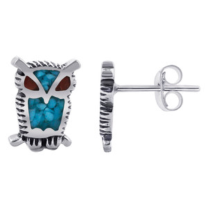 925 Sterling Silver Blue Turquoise and Red Coral Gemstone Southwestern Style Owl Stud Earrings