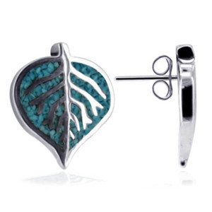 925 Sterling Silver Blue Turquoise Gemstone Southwestern Style Leaf Post Back Stud Earrings