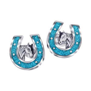 Blue Turquoise Gemstone Horseshoe Stud Earrings