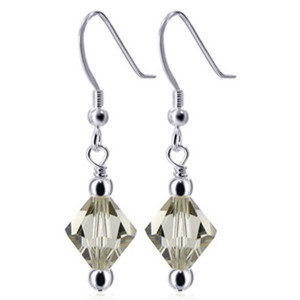 925 Sterling Silver Made With Swarovski Elements Black Diamond Color Crystal Handmade Drop Earrings