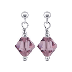 Lavender Color Swarovski Crystal Handmade Post Back Drop Earrings