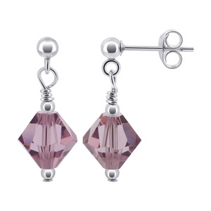 925 Sterling Silver Made With Swarovski Elements Light Lavender Color Crystal Handmade Post-Back Drop Earrings
