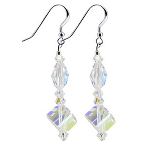 Clear AB Swarovski Crystal Handmade Dangle Earrings
