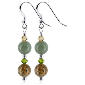 925 Sterling Silver Made With Swarovski Elements Green Jasper and Brown Crystal Handmade Dangle Earrings