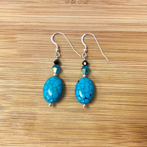 Reconstituted Turquoise Blue and Black Swarovski Elements Crystal Handmade Drop Earrings