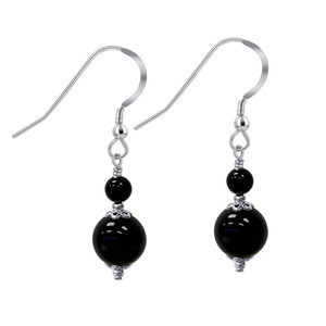 Black Onyx Beads Handmade Drop Earrings