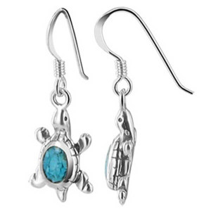 925 Sterling Silver Blue Turquoise Gemstone Southwestern Style Turtle Drop Earrings