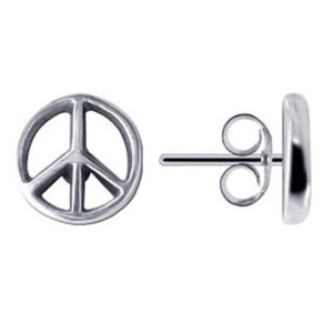 925 Sterling Silver Peace Sign Back Post Stud Earrings