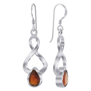 925 Silver Garnet Gemstone Dangle Earrings