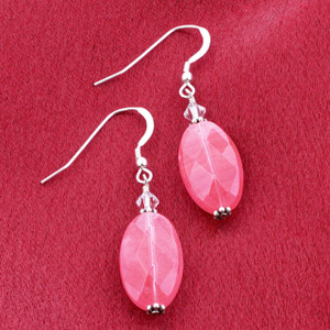 925 Sterling Silver Made With Swarovski Elements Cherry Quartz Crystal Handmade Drop Earrings