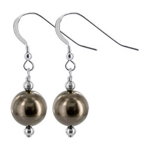 925 Sterling Silver Made With Swarovski Elements Bronze Faux Pearl Handmade Drop Earrings
