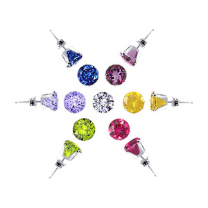 925 Sterling Silver Set of 7 Colors 4mm Round Stud Earrings