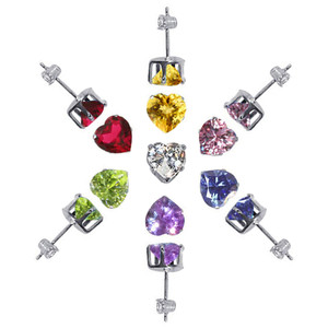 925 Sterling Silver Set of 7 Colors 8mm HeartPost Back Stud Earrings
