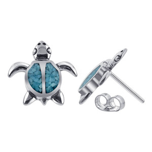 925 Sterling Silver Blue Turquoise Gemstone Southwestern Style Turtle Post Back Stud Earrings