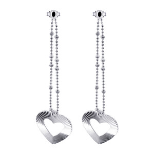 Dangling Open Heart on Chain 925 Sterling Silver Post Dangle Earrings