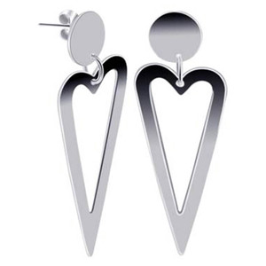 Sterling Silver open Heart dangle Earrings