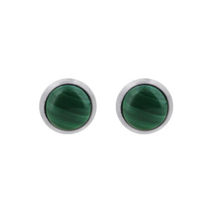 925 Sterling Silver 5mm Simulated Malachite Green Stud Earrings