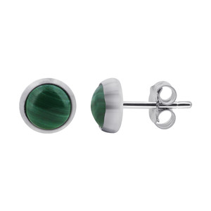 925 Sterling Silver 5mm Green Malachite Gemstone Stud Earrings