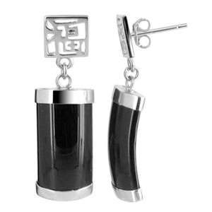 Onyx with Chinese Letter Drop Earrings