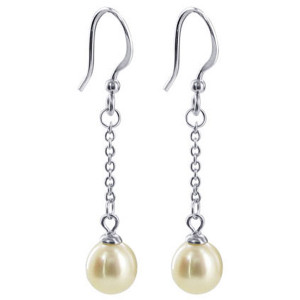 925 Sterling Silver 7mm White Pearl with 1 inch Long Chain Drop Earrings
