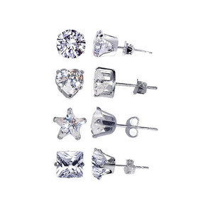 925 Sterling Silver 5mm Round Heart Star Square Clear April Birthstone Cubic Zirconia Stud Earrings Set
