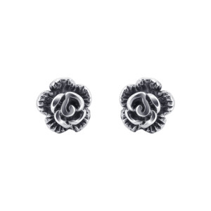 Sterling Silver Rose Polished Stud Earrings