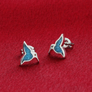 925 Sterling Silver Blue Turquoise Southwestern Style Humming Bird Post Back Stud Earrings