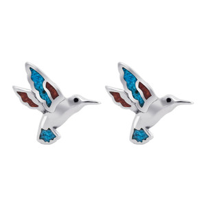 925 Silver Turquoise & Coral Inlay Southwestern Style 10mm Stud Earrings