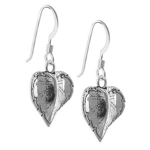 Heart Leaf French Hook Dangle Earrings