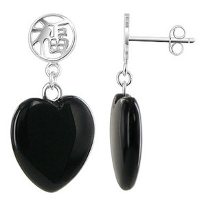 925 Sterling Silver 14mm Heart Black Onyx Gemstone with Chinese Good Luck Symbol Post Back Drop Earrings