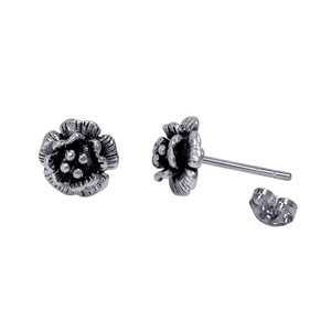 Sterling Silver Rose with Post Back Stud Earrings