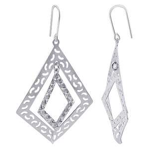 Italian 925 Sterling Silver Intricate French Wire Drop Earrings