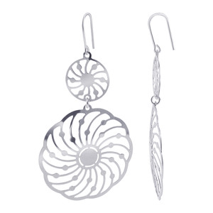 Italian 925 Sterling Silver Fancy Spin Wheel French Wire Drop Earrings