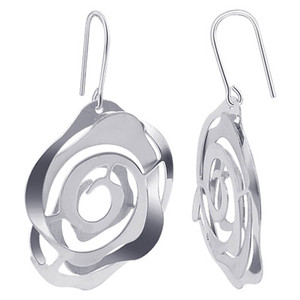 Italian 925 Silver Floral Design Drop Earrings