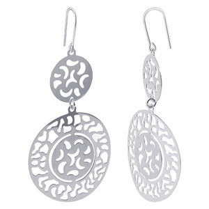 Italian 925 Silver Spin Wheel Drop Earrings