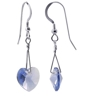 Violet Swarovski Crystal Heart Handmade Drop Earrings