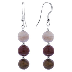 925 Sterling Silver white Red and Brown Jasper Beads Handmade Drop Earrings #SCER705