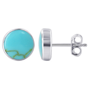 925 Sterling Silver 8mm Reconstituted Blue Turquoise Gemstone Post back Stud Earrings