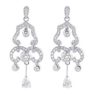 Clear Cubic Zirconia Chandelier Earrings