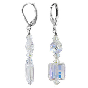 925 Sterling Silver Made with Swarovski Elements Clear AB Crystal Handmade Leverback Drop Earrings